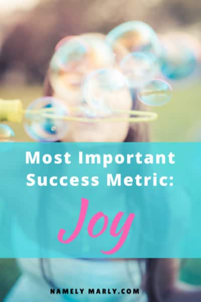 "Your Most Important Success Metric: Joy! Because you can ""achieve"" so many things in life, but forgetting about joy will make it all less meaningful!"