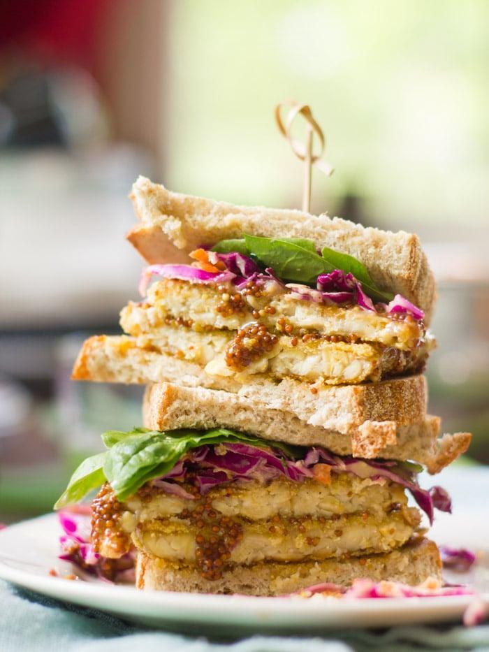 Crispy Maple Dijon Tempeh Sandwich