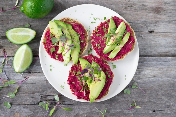 Roasted Beet Hummus Sandwich