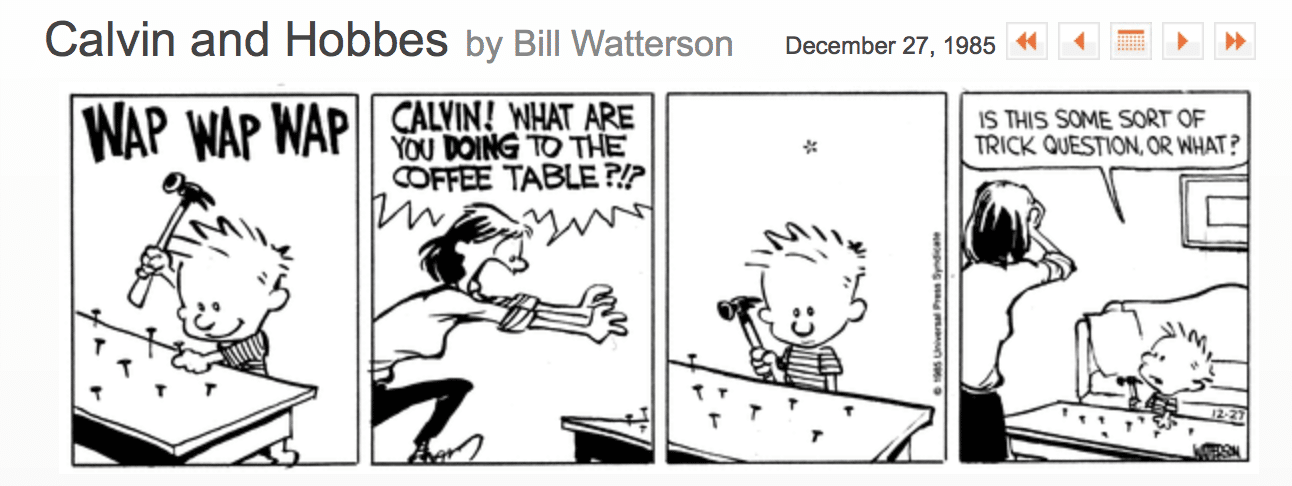 Calvin and Hobbes Cartoon - Trick Question