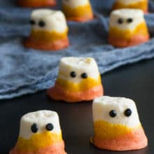 Vegan Candy Corn Marshmallow Ghosts - a fun, tasty, and delicious way to celebrate Halloween for your next spooky halloween party!