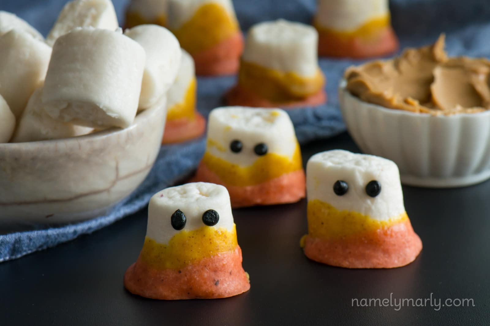 Vegan Candy Corn Marshmallow Ghosts