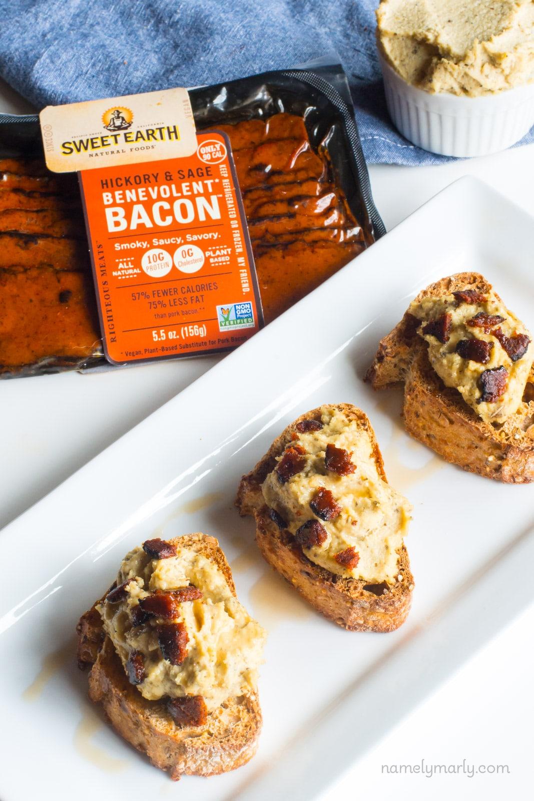 Vegan Bacon Ricotta Crostini