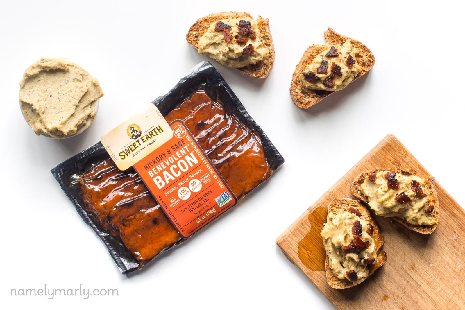 Vegan Ricotta Bacon Crostini