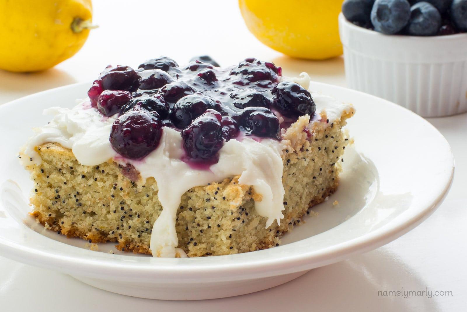 Lemon Avocado Cake with Blueberry Topping