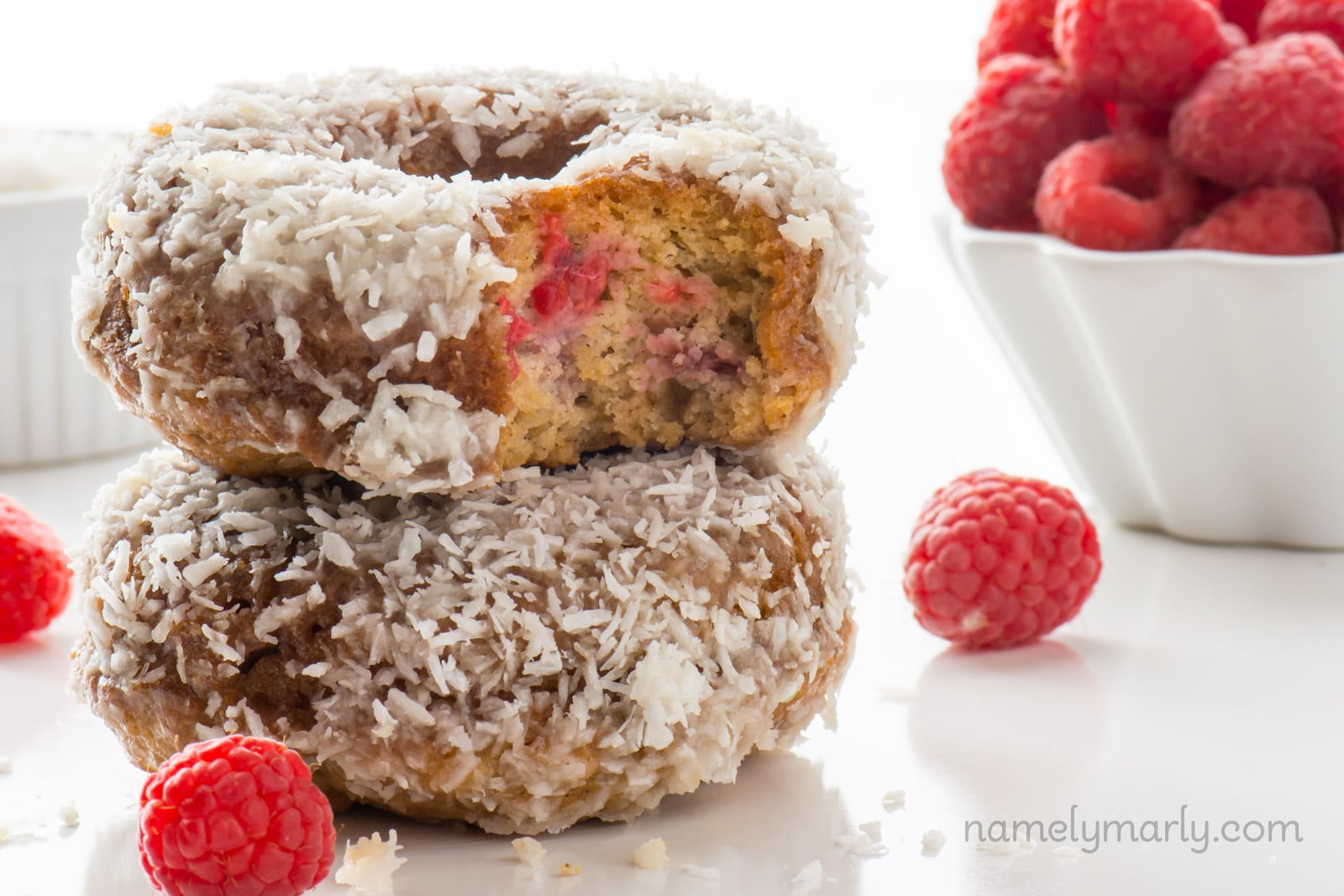 Vegan Coconut Raspberry Donuts