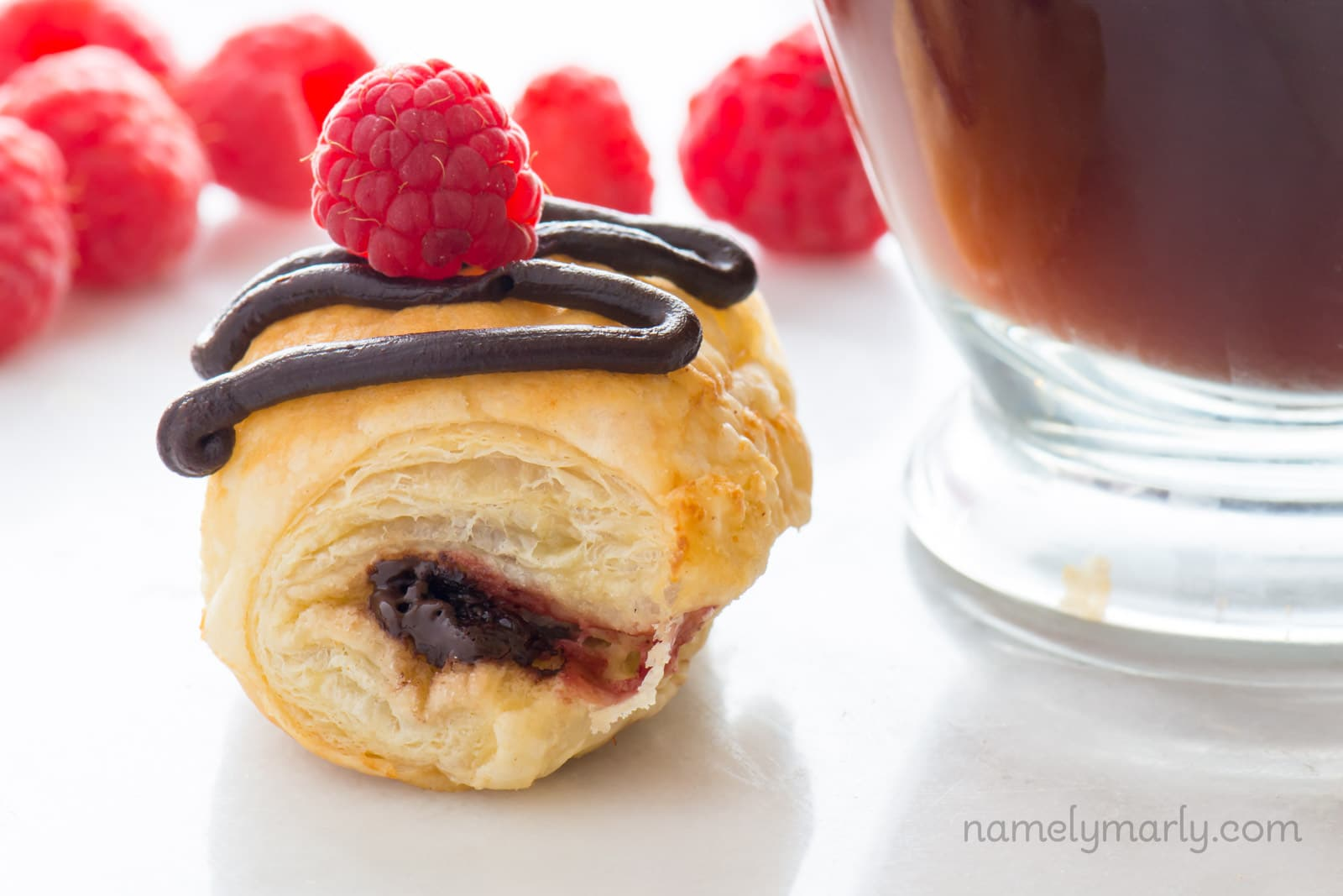 Vegan Raspberry Chocolate Croissants