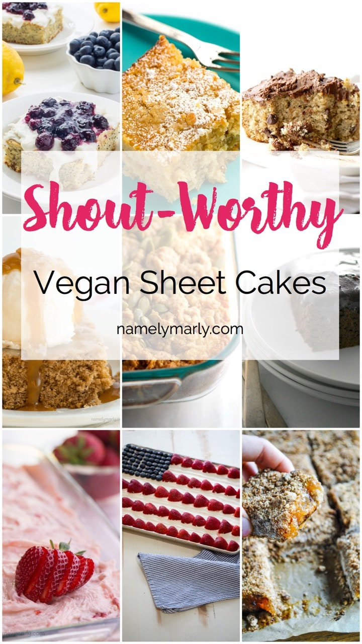 These Shout-Worthy Vegan Sheet Cakes recipes are here so you can follow Tina Fey's advice and get your sheet caking on, especially with the most recent disturbing news. As Tina's advice implies, sometimes we have to get those endorphins any way we can, and so...why not a sheet cake?