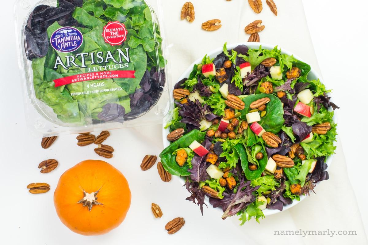 Vegan Harvest Salad with Creamy Pumpkin Ranch Dressing