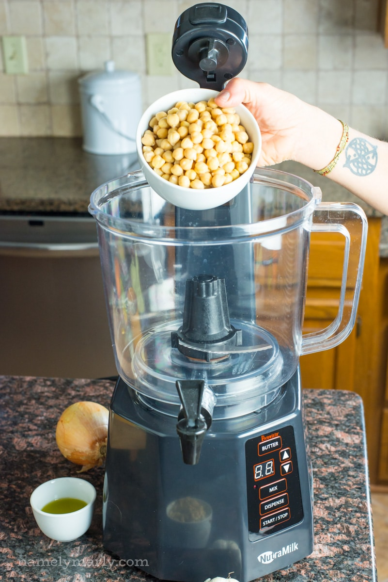 The NutraMilk makes more than nut butters and milks, I used it to make hummus!