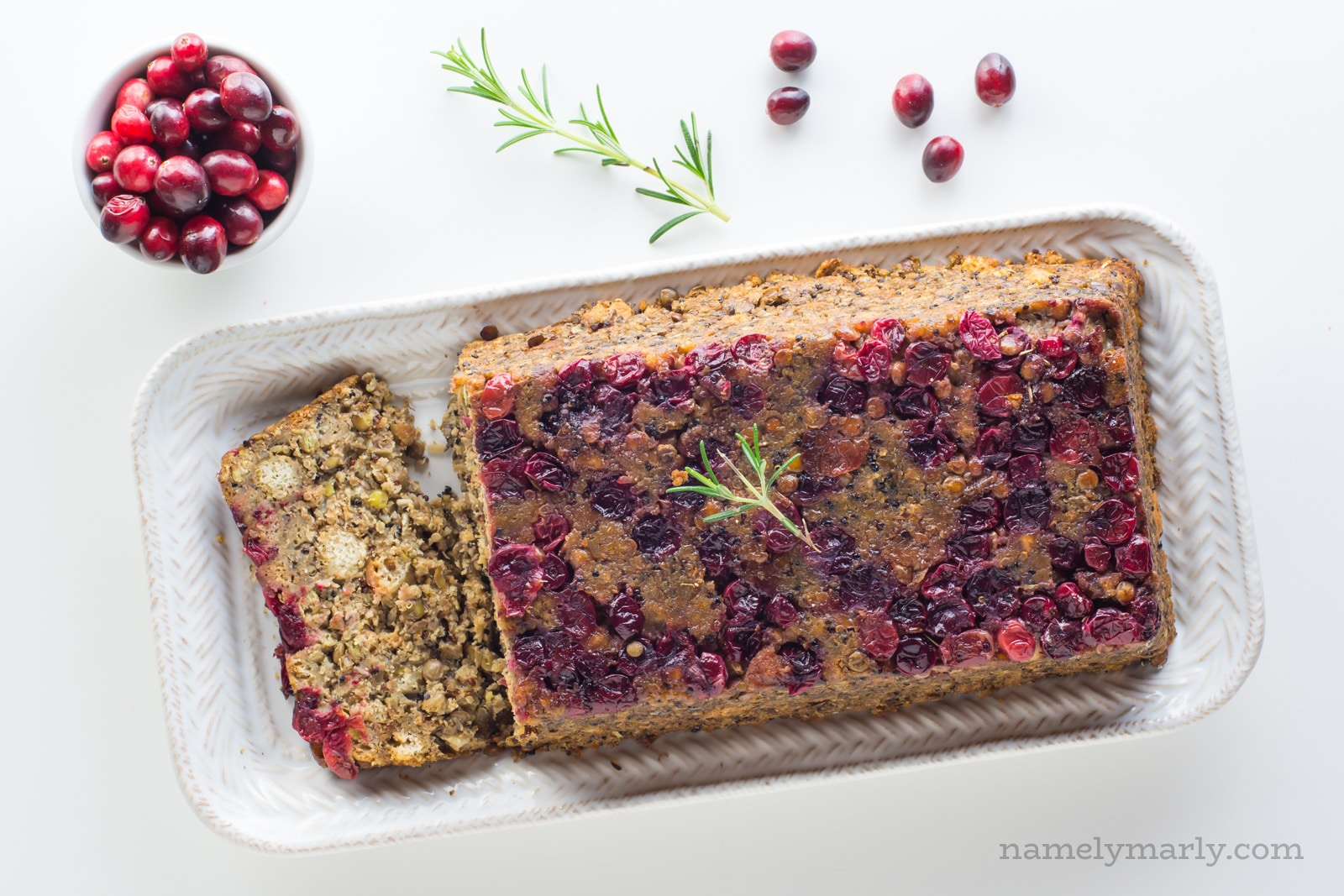 Vegan Holiday Lentil Loaf with stuffing and cranberries