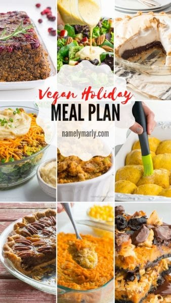 Use this Vegan Holiday Meal Plan, complete with shopping list, to help you plan and create your perfect vegan holiday dinner! #vegan #holiday #mealplan