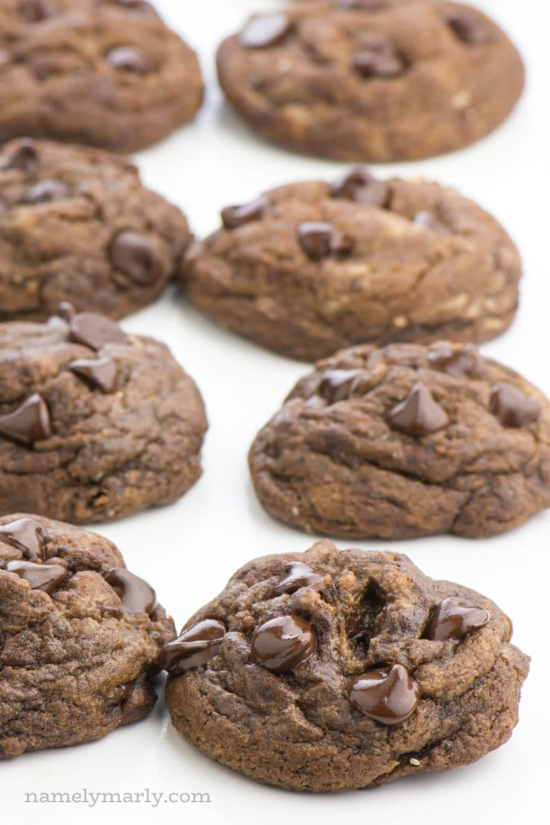 Eight chocolate chocolate chip cookies are lined in rows of four on a white countertop.