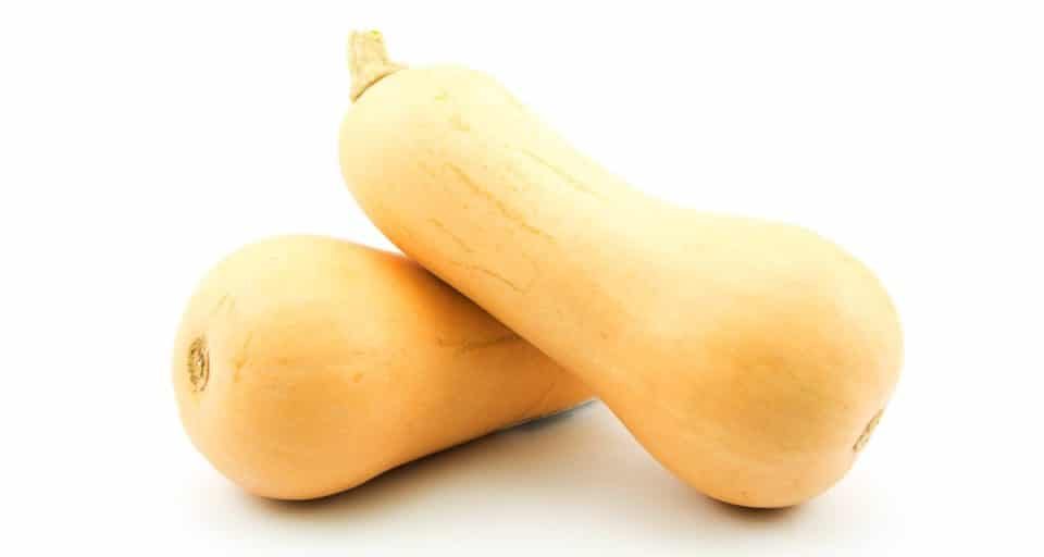 Two butternut squash are sitting on a white table, one is leaning over the other which is laying on its side.