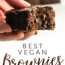 A hand holding a piece of a chocolate brownie with the text below Best Vegan Brownies