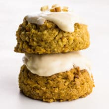 Two Carrot Cake Cookies are stacked on top of each other.
