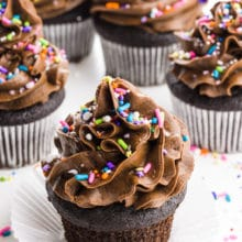 A group of several vegan chocolate cupcakes have colorful sprinkles on top.