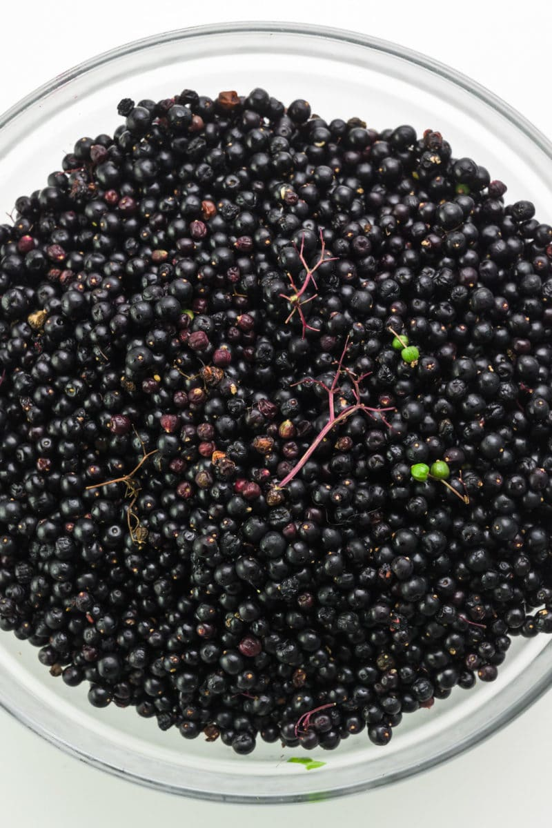 Looking down on a large bowl full of raw elderberries, including bits of stems and some green berries.