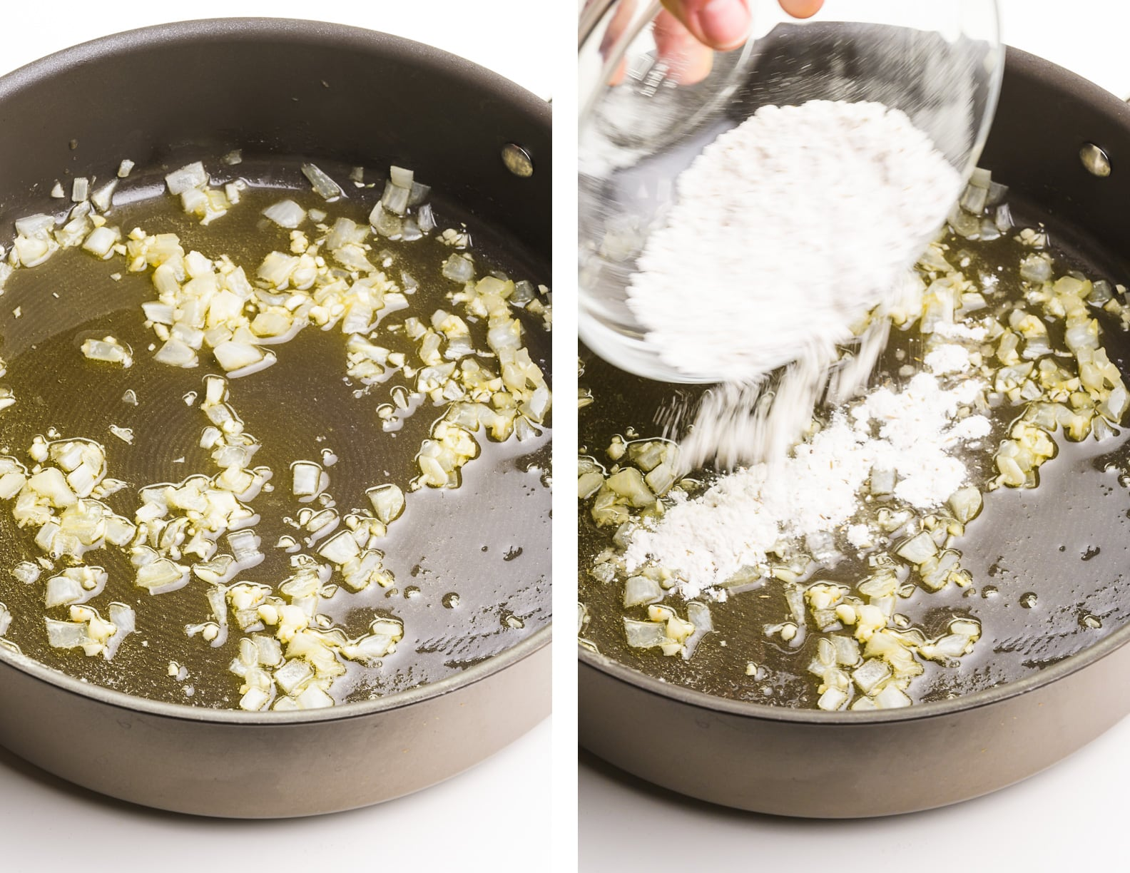 A collage of 2 images shows onions cooking in oil on one side and flour being poured into that mixture on the right.