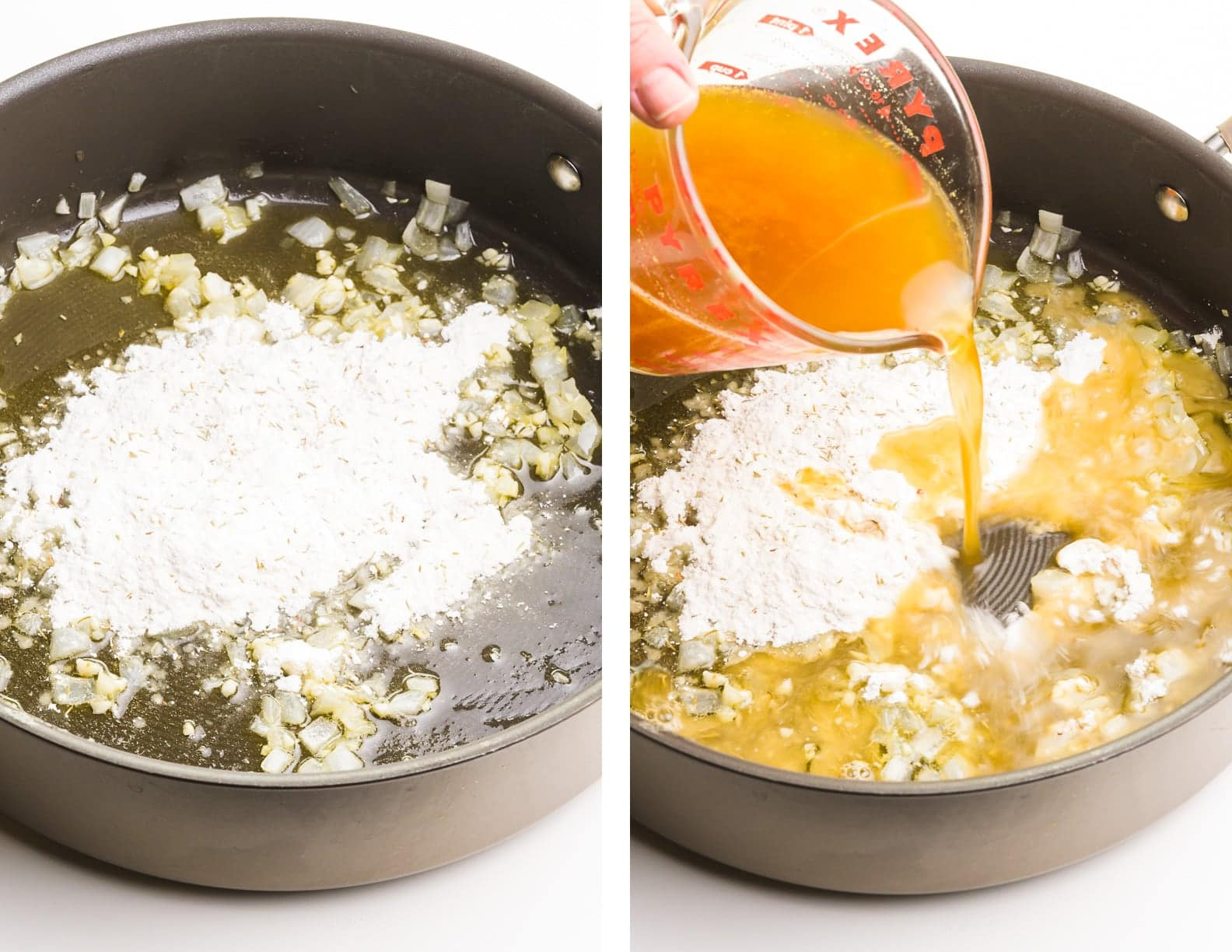 A collage of photos shows flour in a skillet with oil and cooked onions on the left. Broth is being poured into that mixture on the right.