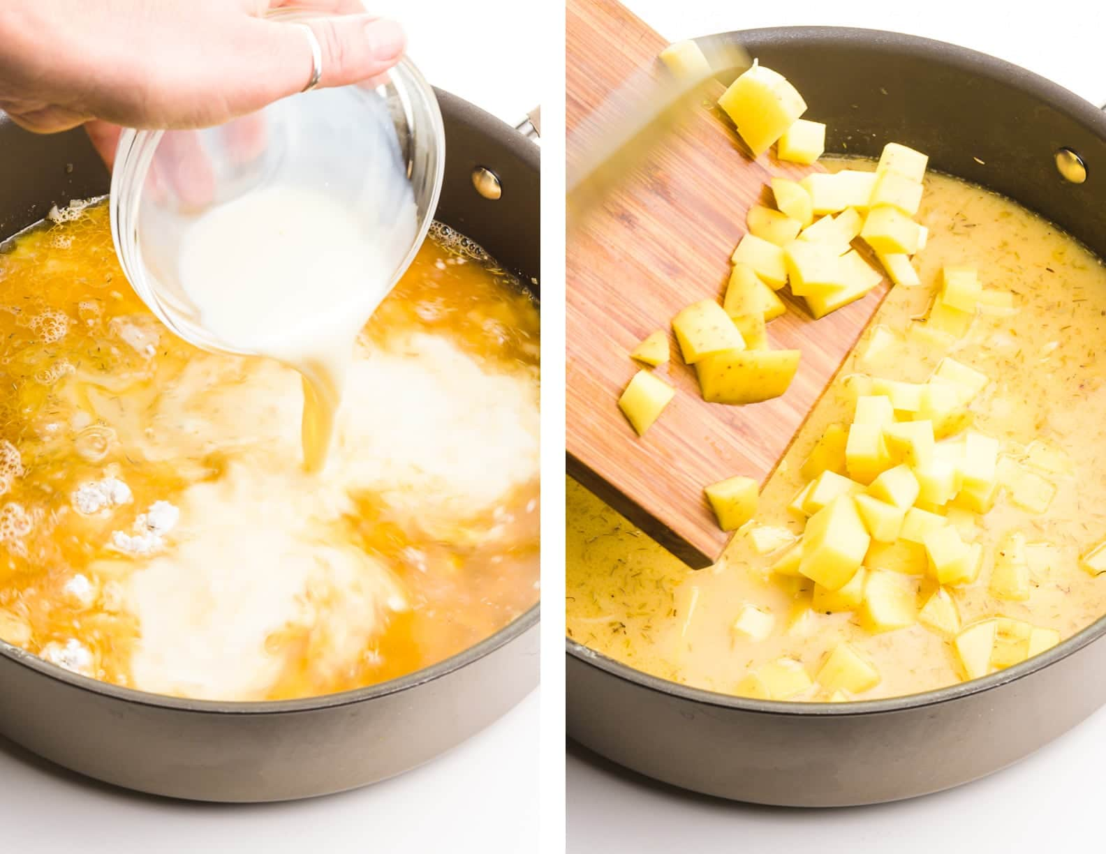 Side-by-side images shows soy milk being poured into a skillet with broth on the left and cubed potatoes being added to that mixture on the right.
