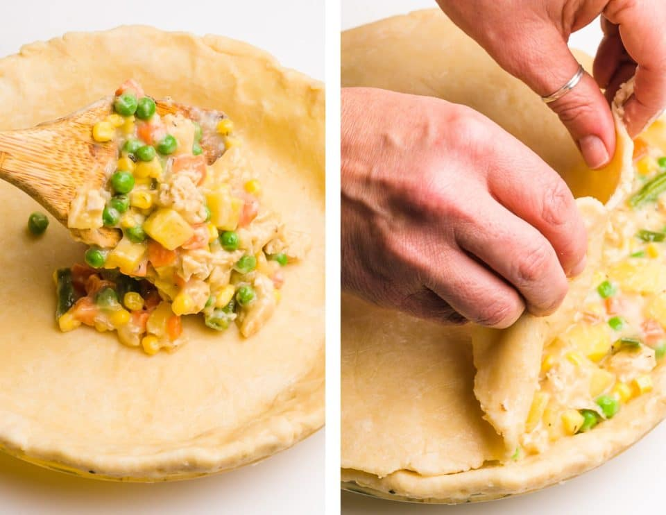 Side-by-side photos shows a vegetable/gravy mixture being spooned into an unbaked pie crust on the left. On the right, hands are placing a top crust over a vegetable pie.