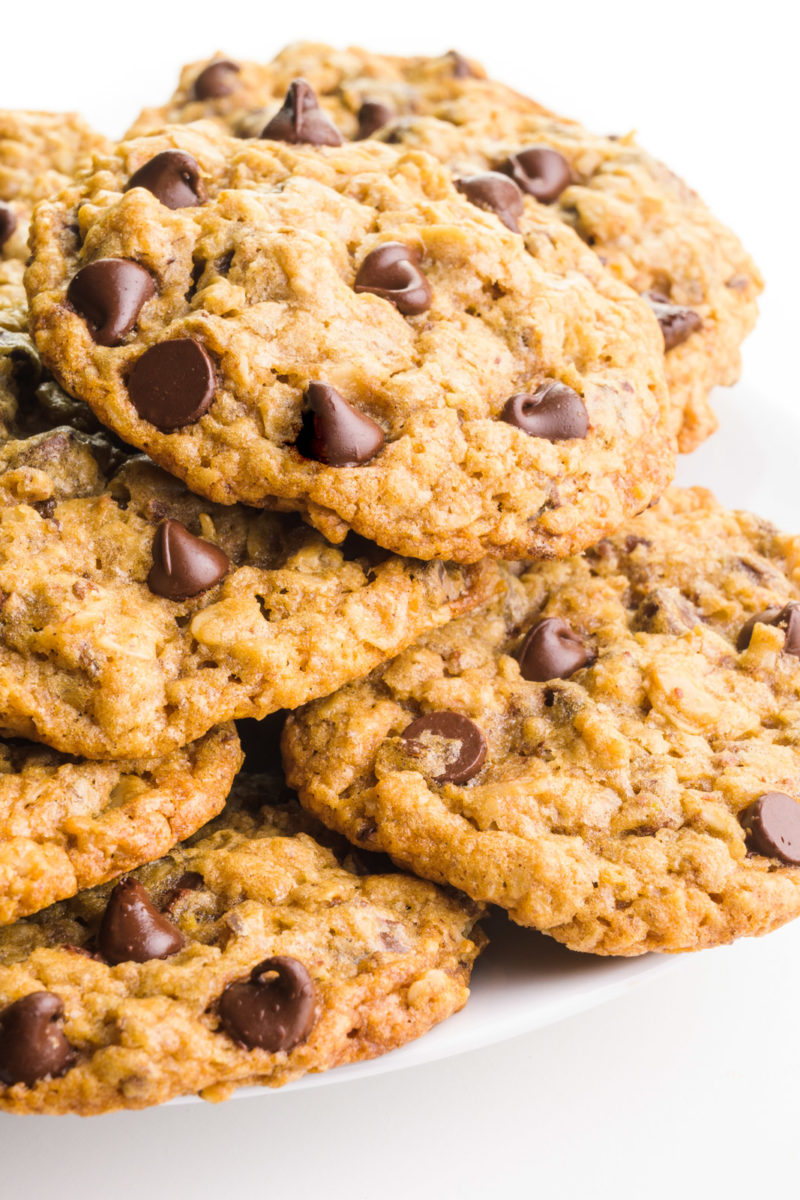 Several oatmeal chocolate chip cookies sit o a plate, showing melty chocolate chips on top.