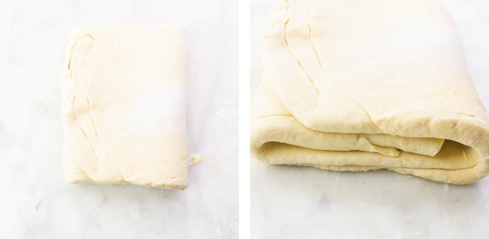 A collage of two images shows pastry dough folded over itself on the left. The image on the right shows a closeup of the dough folded over itself.