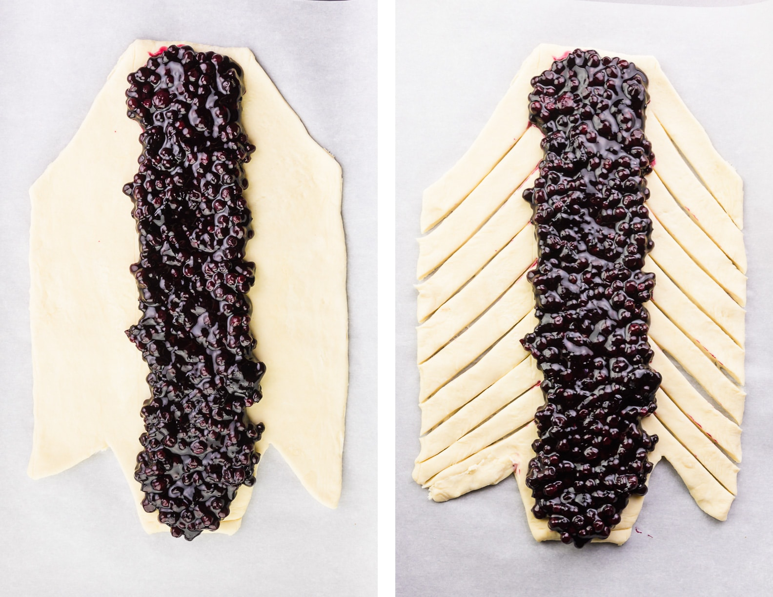 A collage of two images shows the dough cut with a thin strip of blueberry filling down the center on the left. The image on the right shows the same dough and filling, except thin strips have been cut out of the dough.